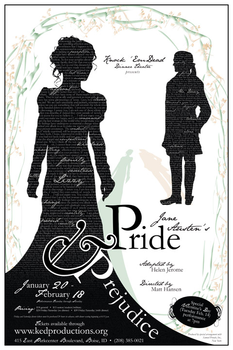 Jane austens pride prejudice typography theatre pride and prejudice posters literature knock em dead
