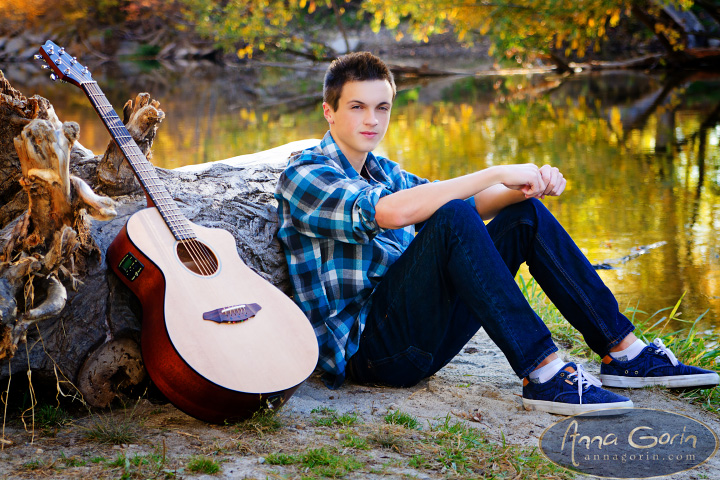 Seniors: Noah | seniors 2014 seniors senior photos portraits photoshoots outdoor portraits musician idaho guitar female portraits fall portraits fall eagle boise senior photos boise river autumn portraits autumn  | Anna Gorin Design & Photography, Boise, Idaho