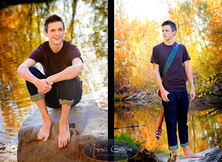 Seniors: Noah | seniors 2014 seniors Senior Portraits Senior Portrait Senior Pictures Boise Senior Photos portraits photoshoots outdoor portraits musician male portrait idaho guitar fall portraits fall eagle Boise Senior Photos Boise Senior Photography boise river autumn portraits autumn  | Anna Gorin Design & Photography, Boise, Idaho