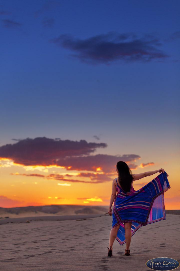 Portraits: Karissa   sunset portraits portrait photoshoots photography outdoor portraits headshots female portraits dusk conceptual bruneau dunes boise actress actors    Anna Gorin Design & Photography, Boise, Idaho