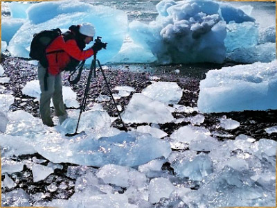 Landscape photographer at Jokulsarlon, Iceland