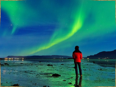 Northern Lights / Aurora Borealis in Borgarnes, Iceland