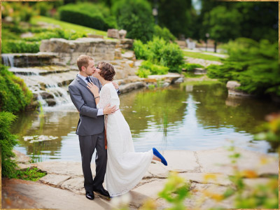 Posed wedding photos at Platt Gardens, Boise Train Depot, Idaho